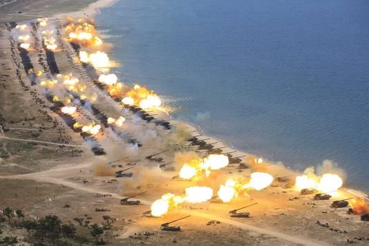 Een ongedateerde en mogelijk gefotoshopte propagandafoto van het Noord-Koreaanse persagentschap.
