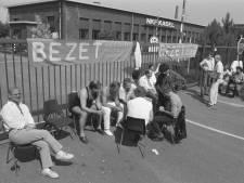 Protest bij de fabriekspoort in Waddinxveen: honderden banen dreigden verloren te gaan