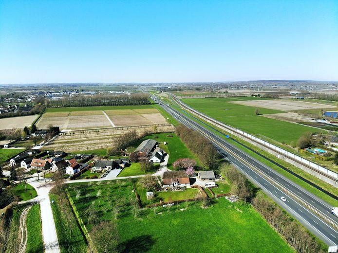 Het zoekgebied voor het windmolenpark tussen Opheusden/Dodewaard en Zetten.