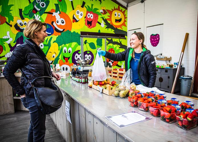 Een Hoeksche Waardse koopt fruit bij Van Herk in Heinenoord.