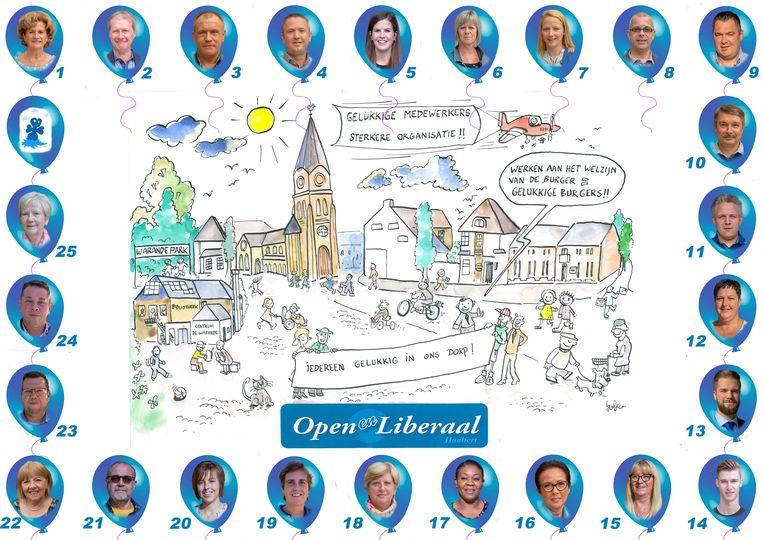 De opmerkelijke affiche van Open en Liberaal, met alle kandidaten in ballonnen rond een tekening van de gemeente Haaltert.