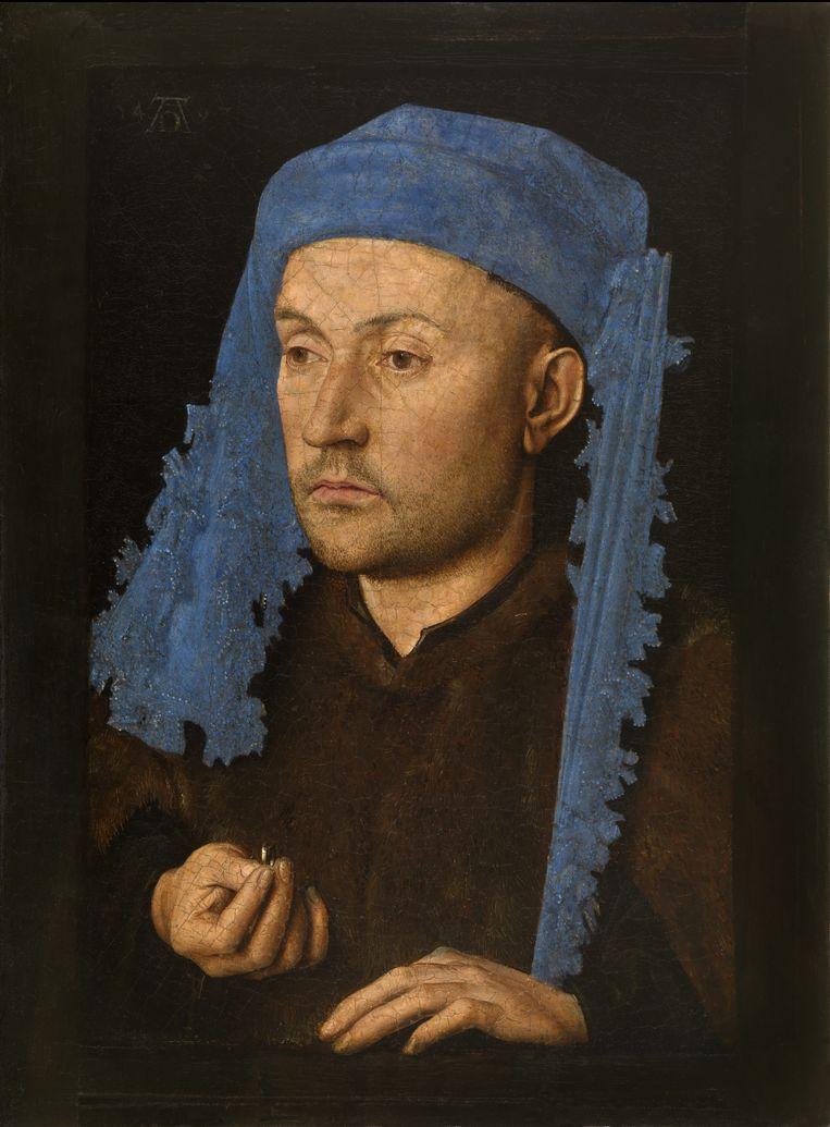 Jan van Eyck, Portret van een man met blauwe kaproen. Beeld Muzeul National Brukenthal