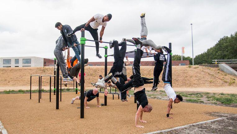 Trainen met je eigen lichaamsgewicht kan nu ook bij calisthenicspark Bijlmer Barz in Venserpolder. Beeld Jesper Boot