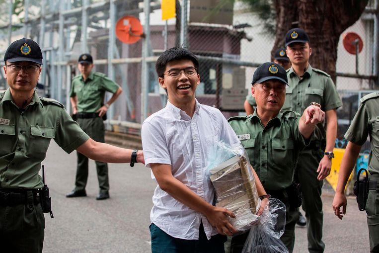 Joshua Wong na zijn vrijlating uit de gevangenis in juni. Beeld AFP
