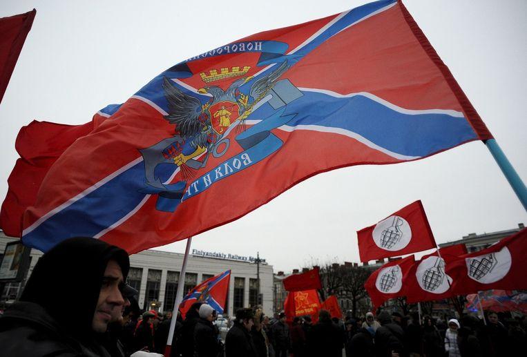 Activisten in St. Petersburg steunen de verkiezingen in Donetsk en Loehansk. Beeld belga
