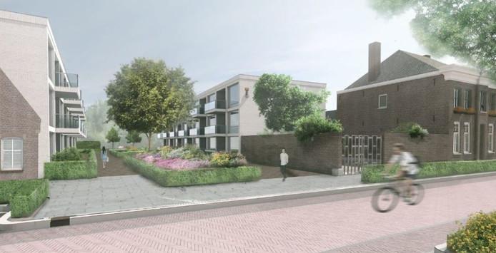 Impressiebeeld van de toekomstige appartementencomplexen aan de Pastoor van Erpstraat in Schijndel.