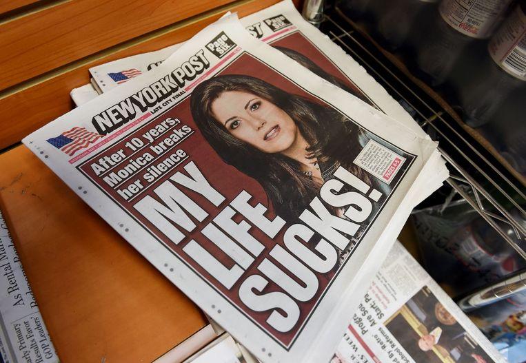 De kop op de voorpagina van de New York Post refereert naar het artikel dat Lewinsky schreef voor Vanity Fair. Beeld afp