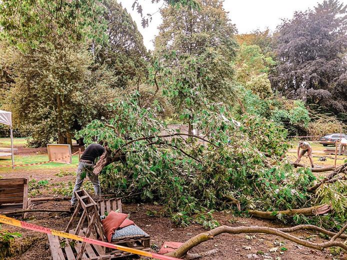 In het Carolinapark in Dieren is de organisatie van het festival daags na de storm bezig de ravage op te ruimen.