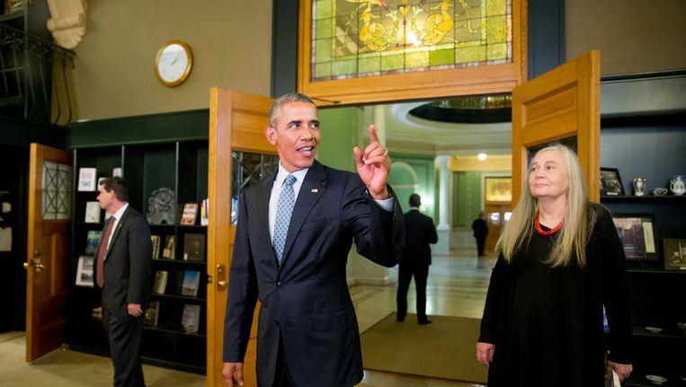 Obama op bezoek in Iowa. Beeld ap