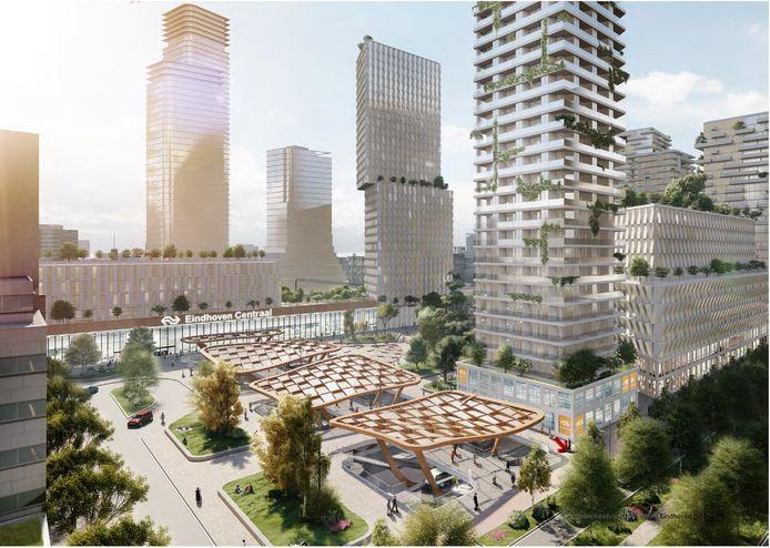 Het nieuwe busstation Neckerspoel aan de Fellenoord in Eindhoven, onderdeel van het plan Internationale Knoop XL. De woon- en kantoortorens zijn ter illustratie; dat zijn nog geen concrete plannen.