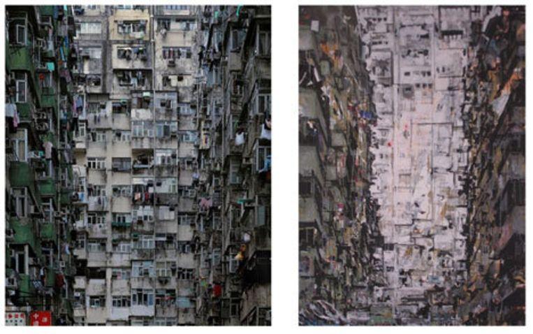 Schilder Gijs van Lith (werk rechts) heeft ook werk (links) van fotograaf Michael Wolf - te zien bij Galerie Wouter van Leeuwen - schaamteloos gekopieerd. Beeld