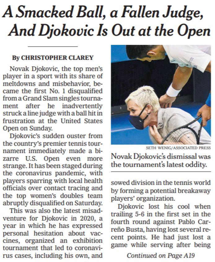 De frontpagina van de 'New York Times' over Djokovic