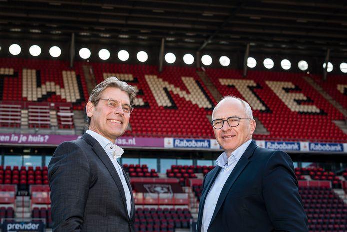 Dennis Schipper (rechts) en Koen Groenewold  (l) rvc-leden FC Twente