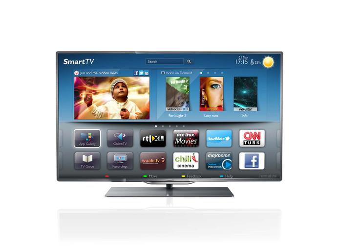 Het beginscherm van smart-tv op het nieuwe topmodel televisietoestel van Philips.
