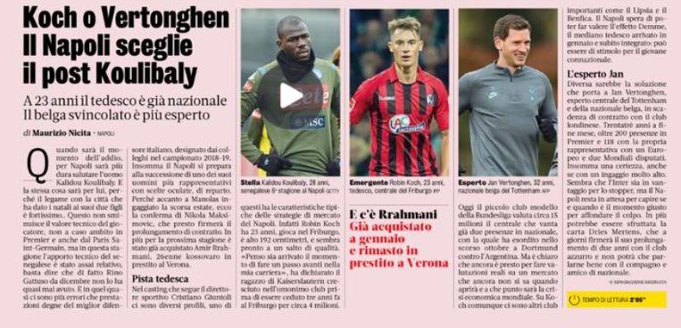"""Dinsdag, in de Gazzetta: """"In het dossier Jan Vertonghen kan Napoli ook de kaart Dries Mertens uitspelen. Die zal de komende dagen voor twee jaar bijtekenen en zal enkel maar goede dingen kunnen vertellen aan zijn landgenoot en vriend."""""""