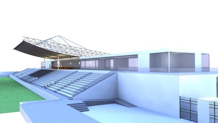 Een simulatiebeeld van de nieuwe tribune van SK Deinze.