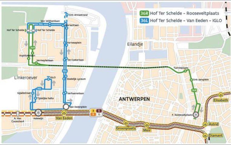 Lijn 36L (blauwe lijn) zal uitsluitend rijden op Linkeroever. Lijn 36R (groene lijn) maakt de verbinding tussen Rechteroever en Linkeroever. Aan tramhalte Van Eeden kunnen reizigers de tram nemen richting Rechteroever.