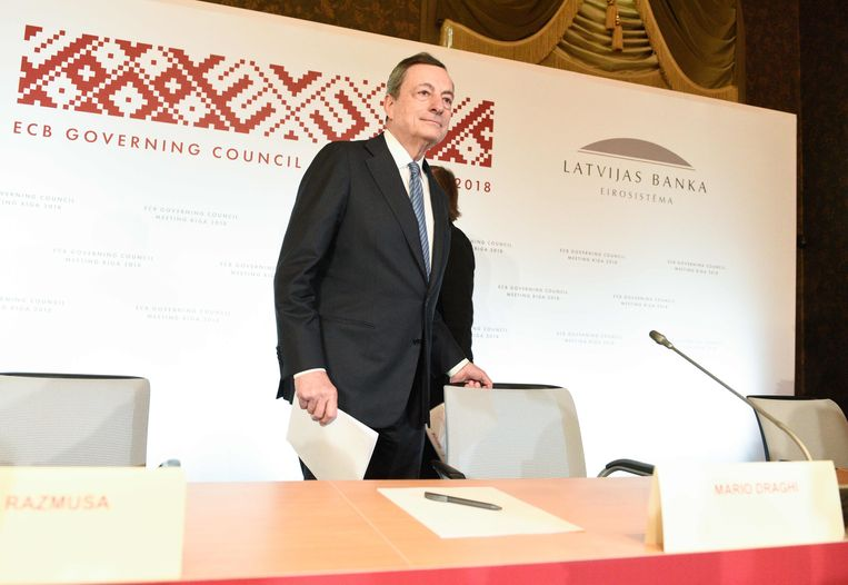 ECB-president Mario Draghi in Riga.  Beeld AFP