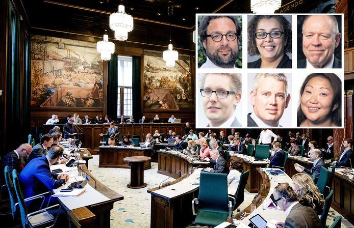 Inzet: De vertrekkers met de klok mee: Sies (CU/SGP), Talbi (PvdA), Mosch (Leefbaar), Van Dijk (SP), Van de Donk (VVD) en Bonte (GroenLinks).