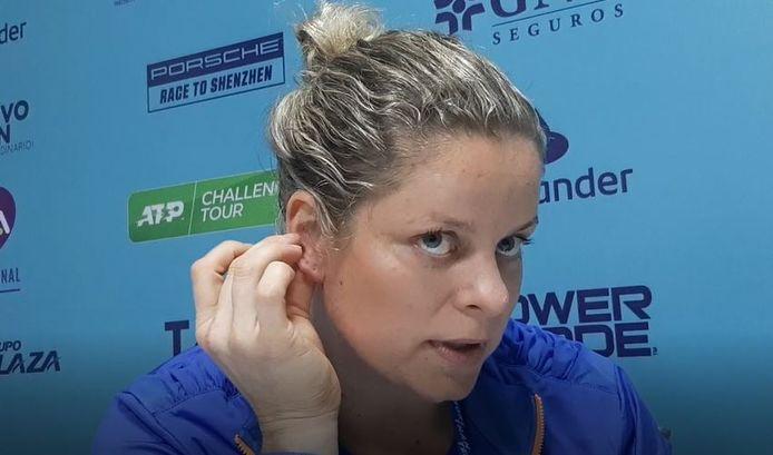 Kim Clijsters op de persconferentie.