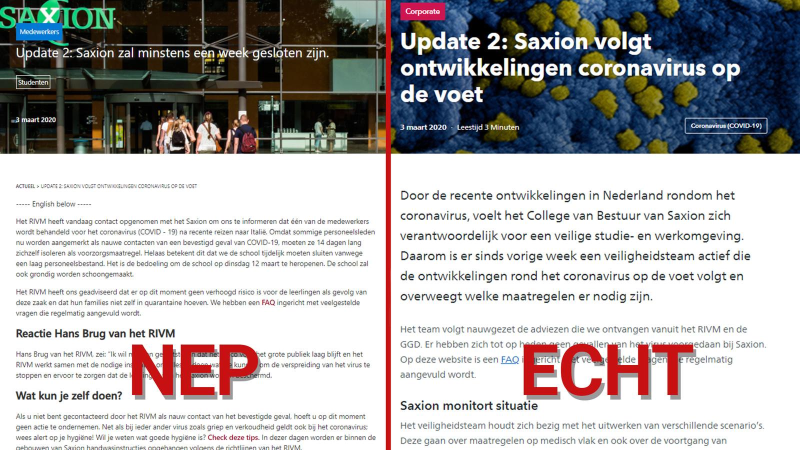 Hogeschool Saxion kreeg te maken met de verspreiding van nepnieuws. Een bericht over de sluiting is een hoax.