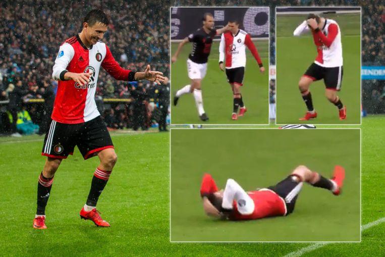 Feyenoord-rechtsbuiten Steven Berghuis theatraal tegen de grond na een tikje van Willem Janssen.