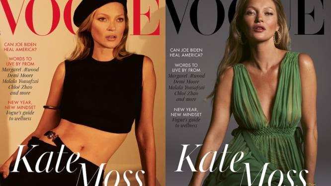 Kate Moss siert 27 jaar na haar debuut opnieuw de cover van de Britse Vogue