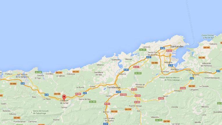 Het ongeluk vond plaats in Cabezón de la Sal, in de buurt van Santander. Beeld Google Street View