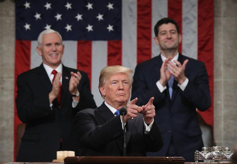 President Trump vorig jaar tijdens zijn State of the Union-toespraak. Beeld epa