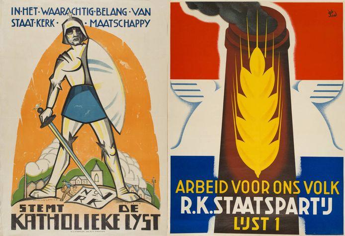 Twee affiches van de Roomsch-Katholieke Staatspartij, uit 1922 (links) en 1937.