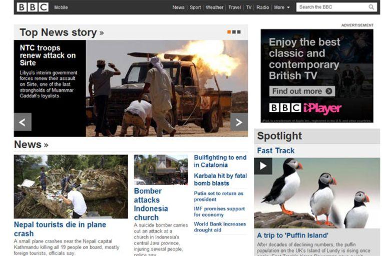 Screenshot van de nieuwssite van de BBC vanochtend. Beeld