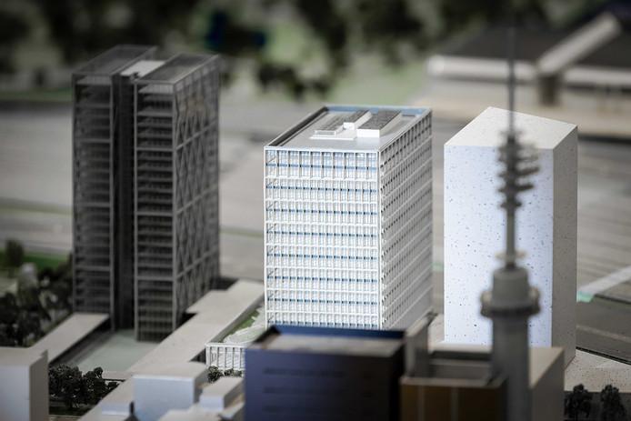 Maquette van het nieuw te bouwen EMA-complex op de Amsterdamse Zuidas.