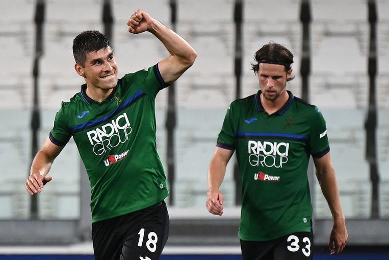 Ruslan Malinovskyi, de Oekraiënse middenvelder die nog voor Genk speelde, aan het kanon tegen Juventus.