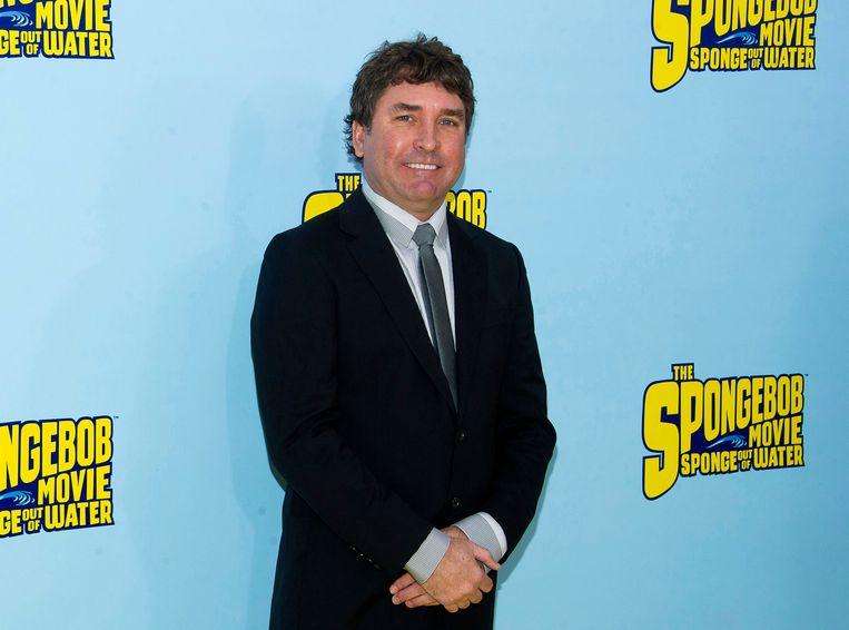 Stephen Hillenburg tijdens de première van The SpongeBob Movie: Sponge Out Of Water in New York.  Beeld Charles Sykes/Invision/AP