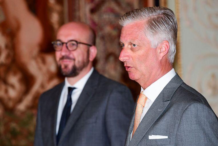 Koning Filip met premier Michel.