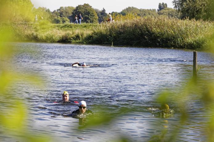De aankomst van zwemmers bij het Vughtereiland.