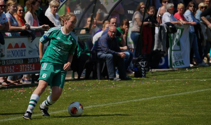 Birgit van Oosterbosch scoorde het enige doelpunt namens Bavel tegen SSS'18. Haar ploeg moet op herkansing tegen Hontenisse.