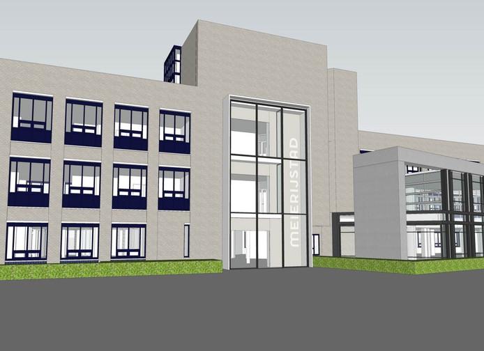 Schets van de nieuwe hoofdingang van stadhuis Meijerijstad als de verbouwing klaar is.