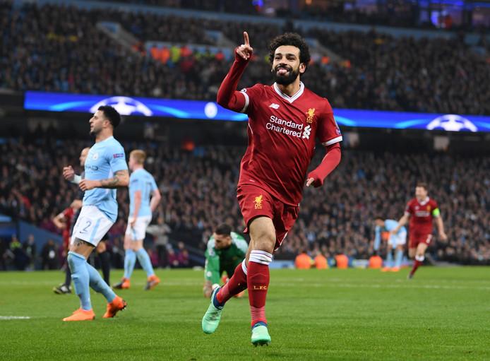 Mohamed Salah juicht na zijn goal tegen Manchester City in de kwartfinale van de Champions League.
