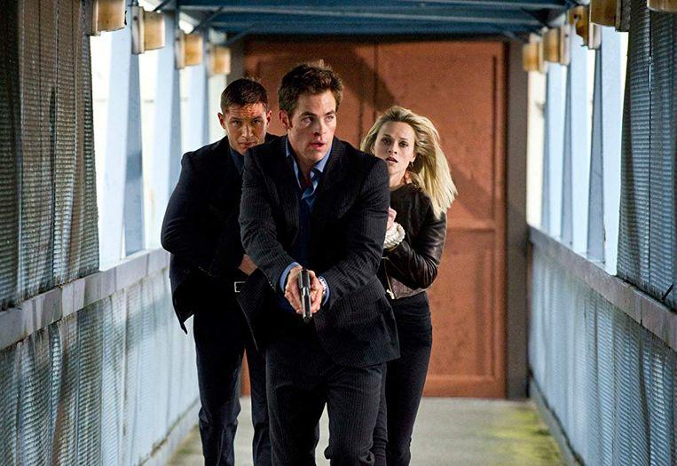 Tom Hardy (links), Chris Pine en Reese Witherspoon in This Means War van McG. Beeld null