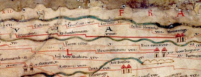 De Peutingerkaart met Ad Duodecimum.