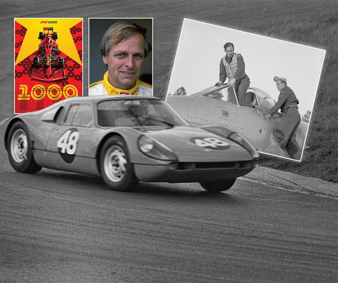 Ben Pon in 1965 in actie op het circuit van Zandvoort. Inzetjes, vlnr: de poster van de 1000ste F1 in Sjanghai, Michael Bleekemolen en piloot Jan Flinterman.