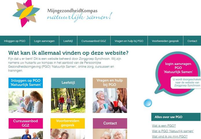 De startpagina van het nieuwe digitale platform voor chronisch zieken.