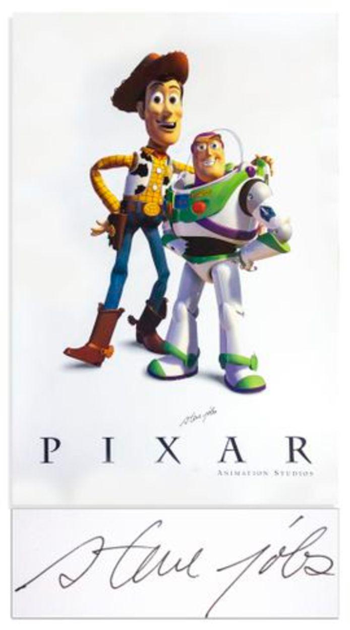 De verkochte 'Toy Story'-poster met handtekening van Steve Jobs.