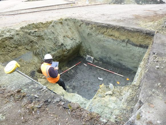 Archeologische opgravingen op de zogenaamde Eandistip in Mechelen.