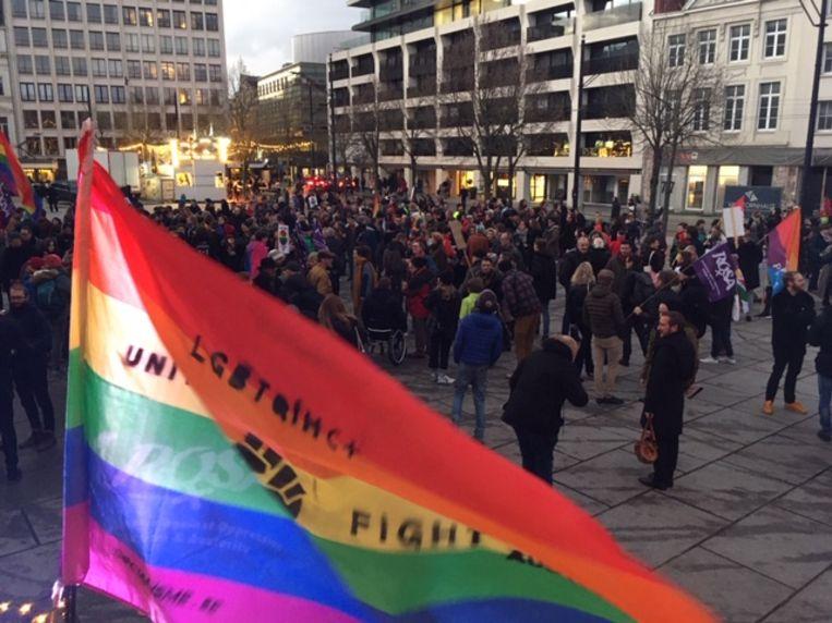 Actie tegen homofoob geweld op de Kouter.