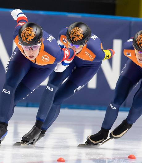 Wijfje, Wüst en De Jong met overmacht naar goud op ploegenachtervolging