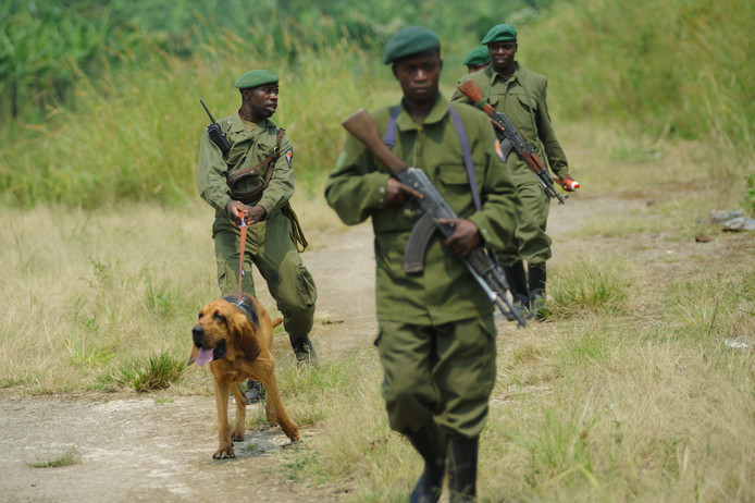 Rangers met hond in een wildreservaat in Congo.