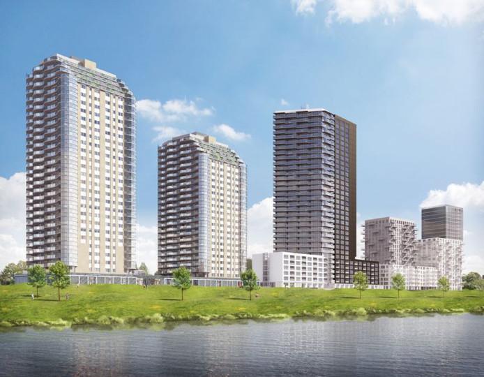 De bouw van de tweede toren (r) begint naar verwachting in oktober.
