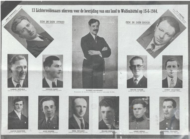 De dertien Lichterveldenaars die op 15 juni 1944 onthoofd werden.